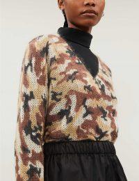 PRADA Camouflage-print mohair-blend jumper in sabbia / designer knitwear