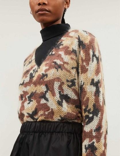 PRADA Camouflage-print mohair-blend jumper in sabbia / designer knitwear - flipped