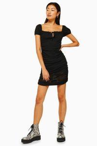 Topshop Prairie Gypsy Mesh Ruched Dress in Black | LBD