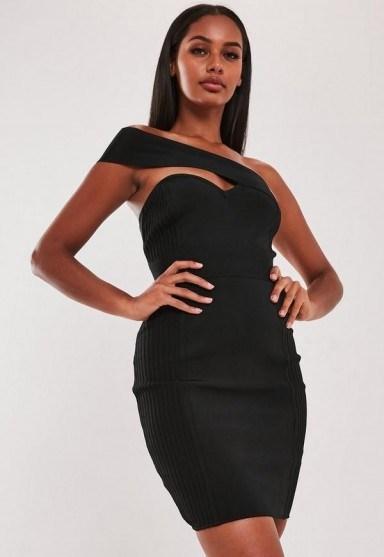 MISSGUIDED premium black bandage one shoulder bodycon mini dress ~ asymmetric lbd - flipped