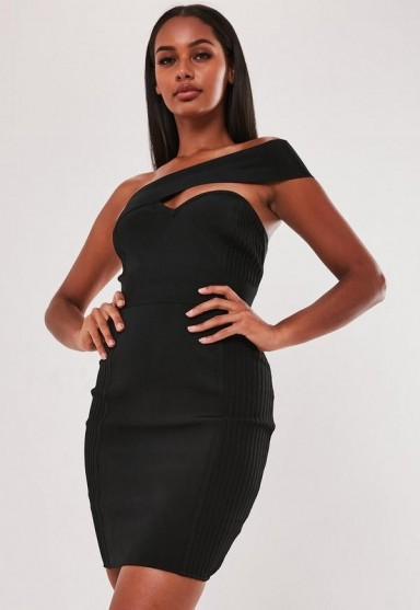 MISSGUIDED premium black bandage one shoulder bodycon mini dress ~ asymmetric lbd