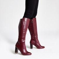 River Island Purple knee high chain heeled boots