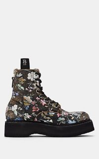 R13 Single Stacked Floral Distressed Leather Ankle Boots