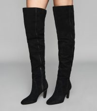 REISS RAQUEL SUEDE OVER THE KNEE BOOTS BLACK ~ stylish winter footwear