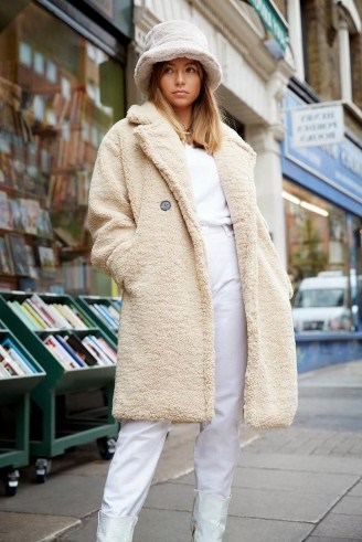 NASTY GAL Ready Teddy Go Oversized Faux Fur Coat in Beige – textured winter coats - flipped