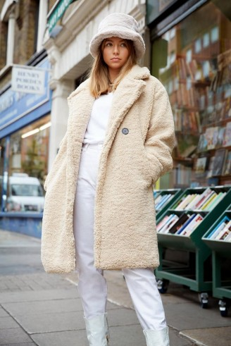 NASTY GAL Ready Teddy Go Oversized Faux Fur Coat in Beige – textured winter coats