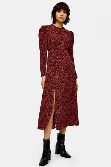 TOPSHOP Red Animal Print Piped Midi Dress / puff sleeved dresses - flipped