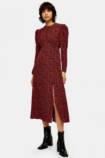 TOPSHOP Red Animal Print Piped Midi Dress / puff sleeved dresses
