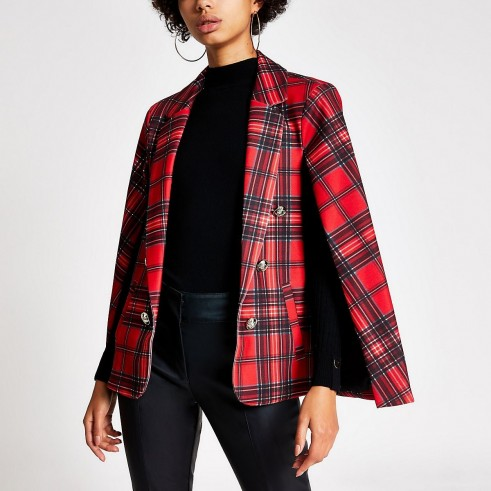 RIVER ISLAND Red tartan crested button cape blazer / plaid capes / checked jacket