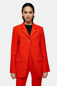 TOPSHOP Boutique Red Wool High Break Blazer – bright contemporary jacket