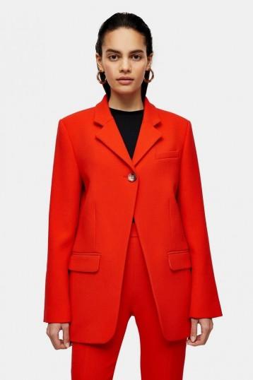 TOPSHOP Boutique Red Wool High Break Blazer – bright contemporary jacket