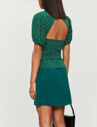 REFORMATION Makenna polka dot-print puff-sleeve crepe top in rosemary / green open back blouse