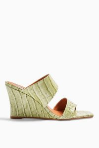 TOPSHOP RELLIK Sage Leather Wedge Mules / green croc look wedges