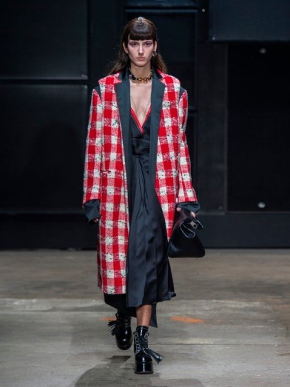 MARNI Reversible red checked gilet coat