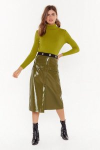NASTY GAL Rise and Shine Vinyl Midi Skirt in Olive / shiny green skirts