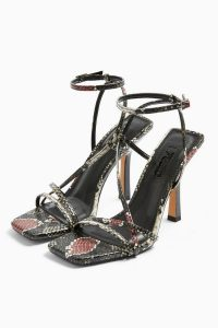 TOPSHOP RITZ Snake Strap High Heels / strappy square toe sandals