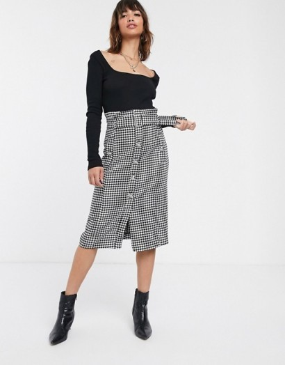 River Island button front midi skirt in dogtooth in black and white