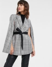 River Island cape blazer in grey check in black / white