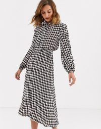 River Island midi dress with pussybow in dogtooth / checked neck-tie dresses