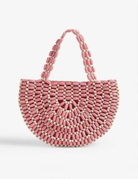 RIXO Bruna beaded wooden bag in coral and cream / cute half-moon shaped bags