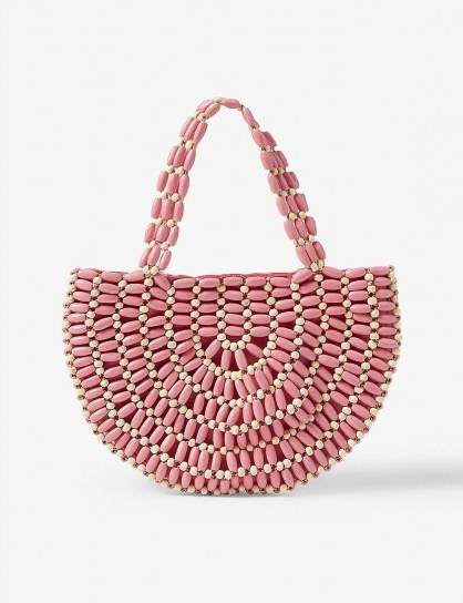 RIXO Bruna beaded wooden bag in coral and cream / cute half-moon shaped bags - flipped