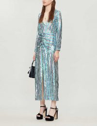 RIXO Emmy V-neck sequinned midi dress in multi stripe sequin ~ vintage style glamour