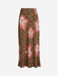 RIXO Kelly silk slip skirt in Hawaii giraffe ~ animal and floral prints