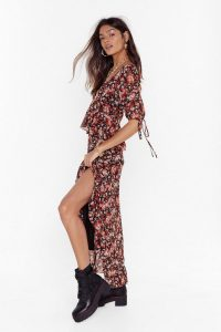 NASTY GAL Rooting for You Floral Sweetheart Maxi Dress in Black