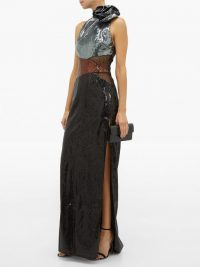 DUNDAS Rosette high-neck sequinned dress ~ event glamour ~ glamorous black gowns