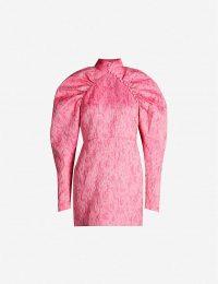 ROTATE BIRGER CHRISTENSEN Puffed-sleeve jacquard mini dress in Pink Carnation