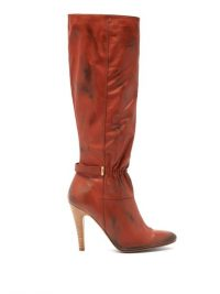 MARC JACOBS Ruched-front distressed-leather boots in brown