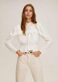 Mango Ruffled cotton blouse in off white REF. 51005038-NORIT-LM