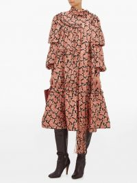 MARC JACOBS Ruffled paisley-print silk midi dress in pink ~ voluminous tiered dresses