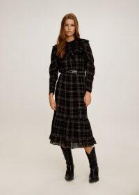 MANGO Ruffled printed dress in Black REF. 57005529-FILIPPIN-LM | checked fill trim dresses