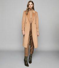 REISS SABEL WOOL BLEND OVERCOAT CAMEL ~ classic winter coats