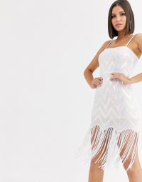 Saint Genies chevron iridescent sequin mini dress with sequin tassle fringe hem in white multi | shimmering tassel hem dresses