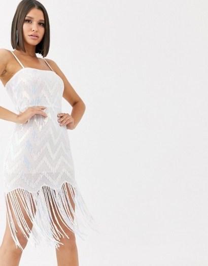 Saint Genies chevron iridescent sequin mini dress with sequin tassle fringe hem in white multi | shimmering tassel hem dresses - flipped