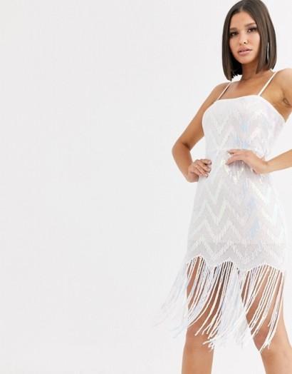 Saint Genies chevron iridescent sequin mini dress with sequin tassle fringe hem in white multi | shimmering tassel hem dresses