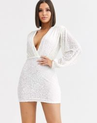 Saint Genies flocked velvet plunge dress with bishop sleeves in white | deep V plunging mini dresses