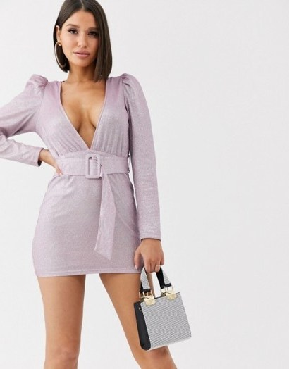 Saint Genies metallic puff sleeve dress with fabric buckle waist belt in lilac | plunging mini dresses - flipped