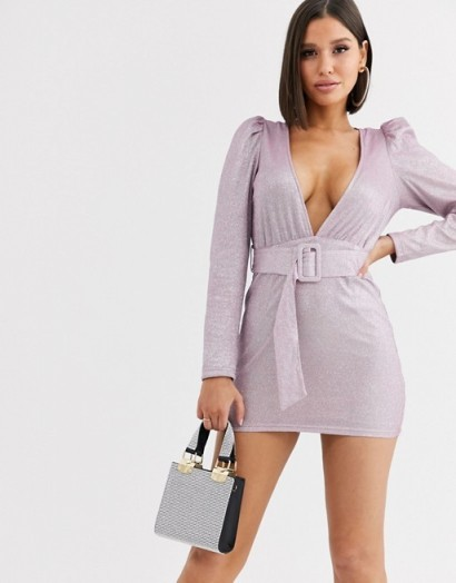 Saint Genies metallic puff sleeve dress with fabric buckle waist belt in lilac | plunging mini dresses