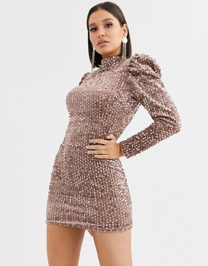 Saint Genies sequin velvet high neck puff sleeve party dress in champagne | sequin embellished mini dresses