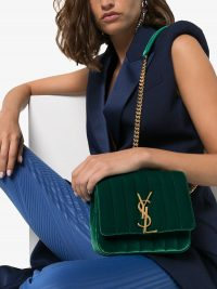 SAINT LAURENT Vicky quilted cross body bag in green velvet