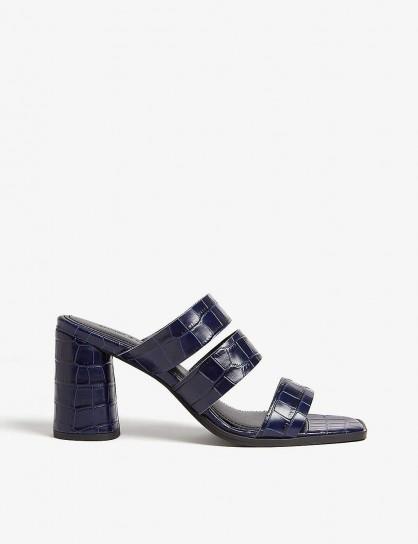 SAMSOE & SAMSOE Fugax leather heeled mules in sapphire / blue chunky heel mule