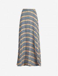 SAMSOE & SAMSOE Juliette pleated checked satin-crepe maxi skirt in Inca check | long skirts