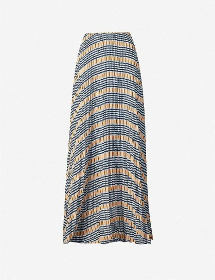SAMSOE & SAMSOE Juliette pleated checked satin-crepe maxi skirt in Inca check | long skirts - flipped