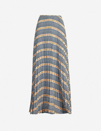 SAMSOE & SAMSOE Juliette pleated checked satin-crepe maxi skirt in Inca check | long skirts