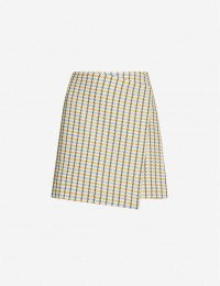 SAMSOE & SAMSOE Vigna checked cotton-twill mini skirt in olive check / wrap style skirts