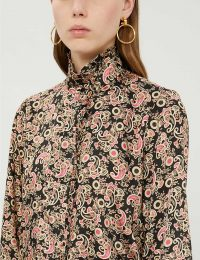 SANDRO Paisley-print satin-twill shirt in black / luxe high neck shirts