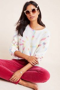 MAEVE Sandy Tie-Dyed Sweatshirt in White / multi-coloured crew neck sweat top